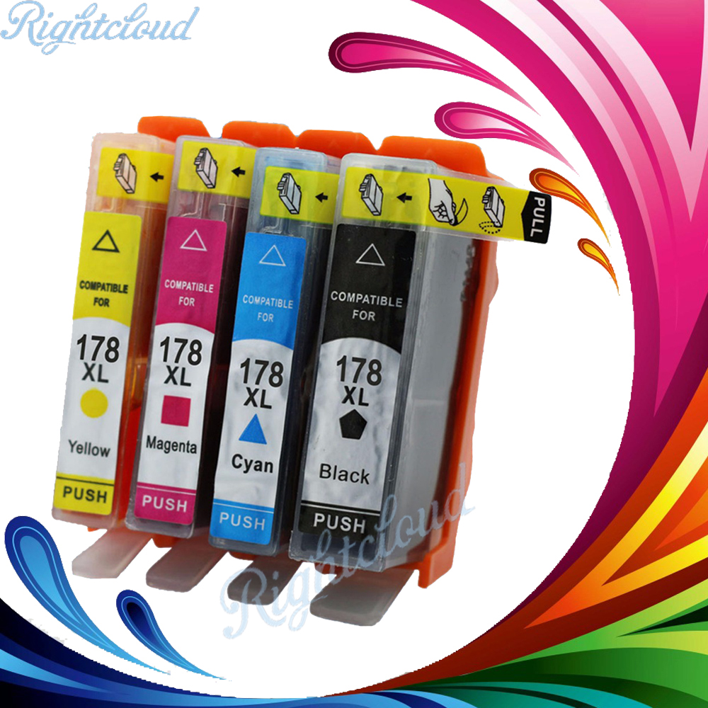 Hisaint 1set For hp178 178XL Refillable ink Cartridge for HP photosmart 5510 5515 6510 7510 B109a B109n B110a printer 4 color 2pcs for hp 564 564xl black printer ink cartridge for photosmart 7510 b8500 b8550 c5380 c6375 c6380 inkjet printer free shipping