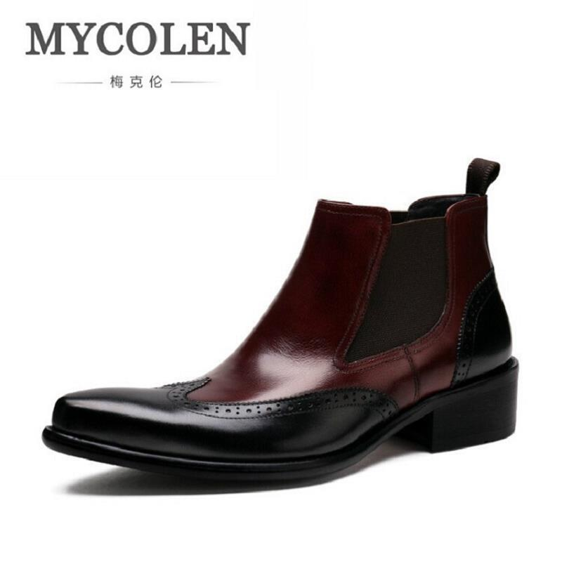 MYCOLEN Men Ankle Boots Spring/Autumn Comfortable Footwear Genuine Leather Mens shoes Lace Up Casual Business Boot Flat Shoes hot sale spring autumn man flat high top comfortable sneakers genuine leather lace up men black color casual shoes brand boots