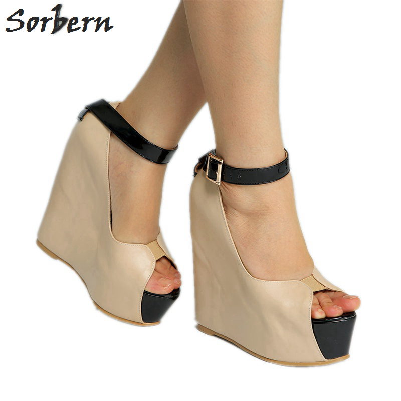Sorbern Nude Ankle Strap Peep Toe Wedge