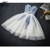 2018 Short Graduation Homecoming Dresses with Appliques Sweetheart Tulle Homecoming Cocktail Party Dress Short for Women