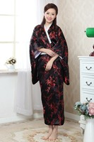 Free Shipping Black Red Japanese Women's Silk Kimono Yukata Haori With Obi Performance Stage Clothing Flower One Size JK023