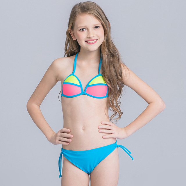 Sexy Stitching Swimsuit Child Girl Beach Wear For Teenagers Girls Bikinis Set With Adjustable Halter On