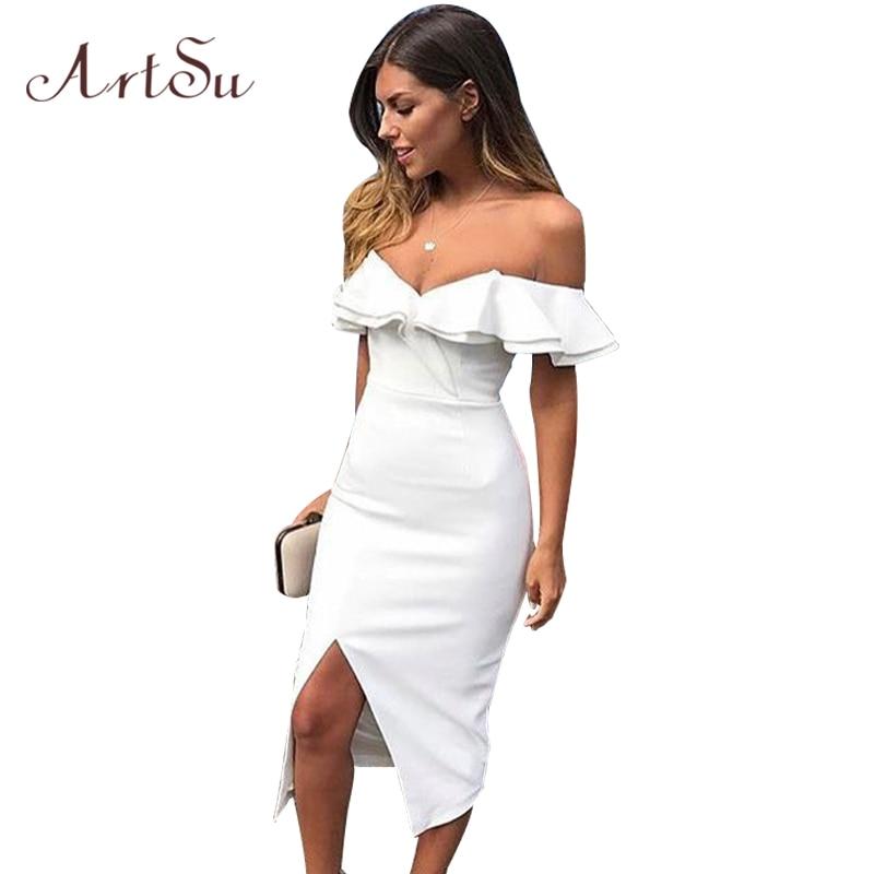 042cef710072 ArtSu Women Fashion Double Ruffles Midi Dress 2018 Summer Celebrity Party  Dresses Off Shoulder Sexy Split Slim Vestido ASDR30748-in Dresses from  Women s ...