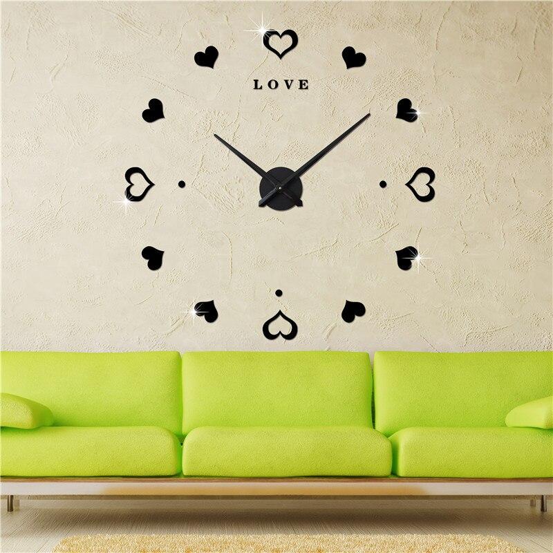 3D Love antique style minimaliste salon horloge murale mode art surdimensionné montre de poche grande horloge murale horloge à faire soi-même créative