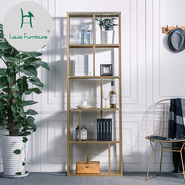 Louis Fashion Bookshelf Iron Art Nordic Wind Shelf Modern Simple ...