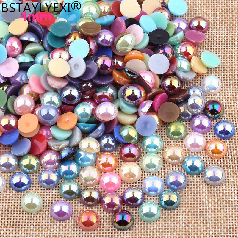 Free Shipping 1000Pcs/lot Size 4mm AB Color Imitation Pearls Craft Half Round Flatback Beads Nail  DIY Decoration