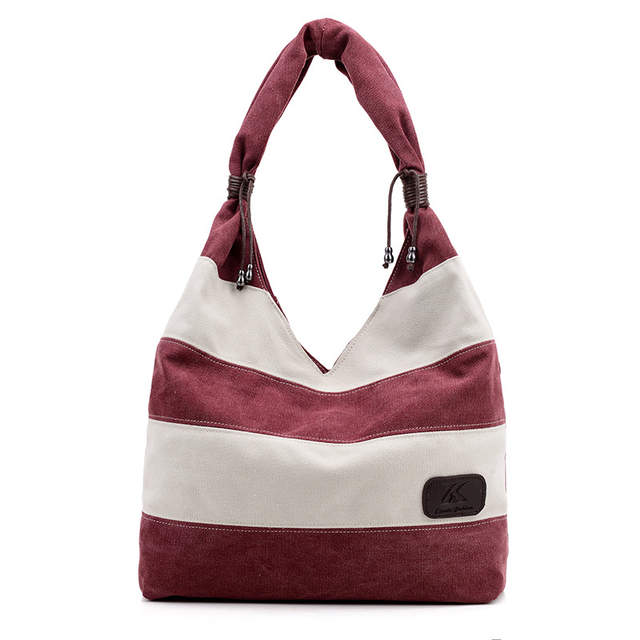 3bfc00a415 Girl Casual Summer Canvas Shopper Shoulder Bag Striped Beach Bags Large  Capacity Tote Women Ladies Casual