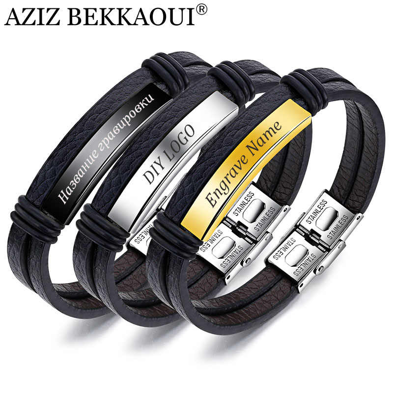 AZIZ BEKKAOUI Vintage Genuine Leather Bracelet for Men Engrave Name Stainless Steel Bracelets Male Jewelry Gift Dropshipping