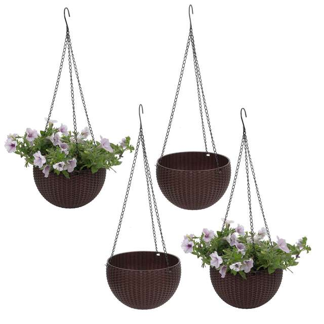 T4U Plastic Hanging Planter self watering flower pot Basket