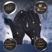 Fishing Gloves Waterproof Hiking Winter Bicycle Bike Cycling Gloves For Men Women Windstopper Simulated Leather Soft Warm Gloves