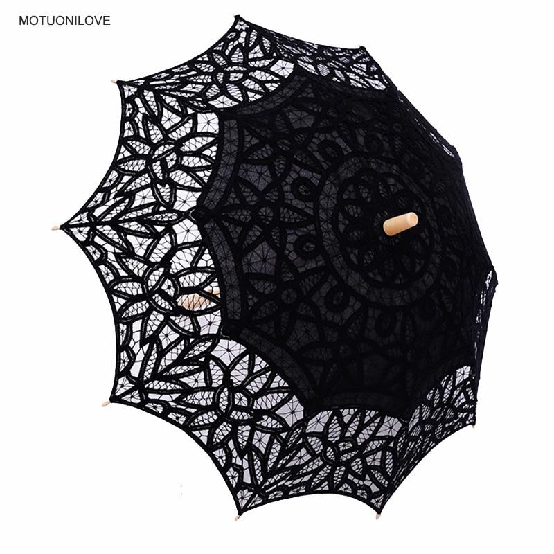 2019 Summer Vintage Lace Umbrella Parasol For Birde High Quality Lace Wood Handle Womens Wedding Sun Umbrella Sombrillas Boda