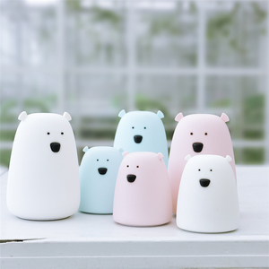 Silicone Night Light Bedside Lamp Bear Color Light Children Cute Night Lamp Bedroom Kid Light Gift Pressure reducing toy(China)
