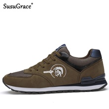 SusuGrace Quality Mens running shoes Comfortable Genuine leather causal Trainers Outdoor Athlete sport non-slip Stylish