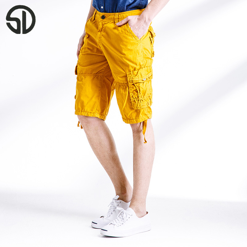 Woodvoice Brand Clothing Mans Cargo Shorts Cotton Half-Length Short Multi Pocket Shorts Male Solid Colors Casual Shorts Homme