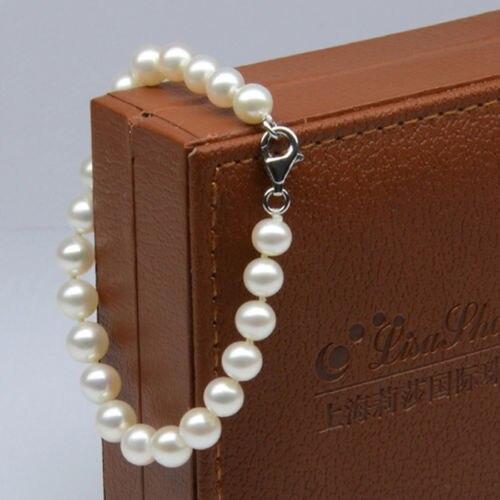 Livraison gratuite > > > > s615 AAA 1 Strand 7 - 8 mm blanc naturel d'eau douce perle de culture Bracelet