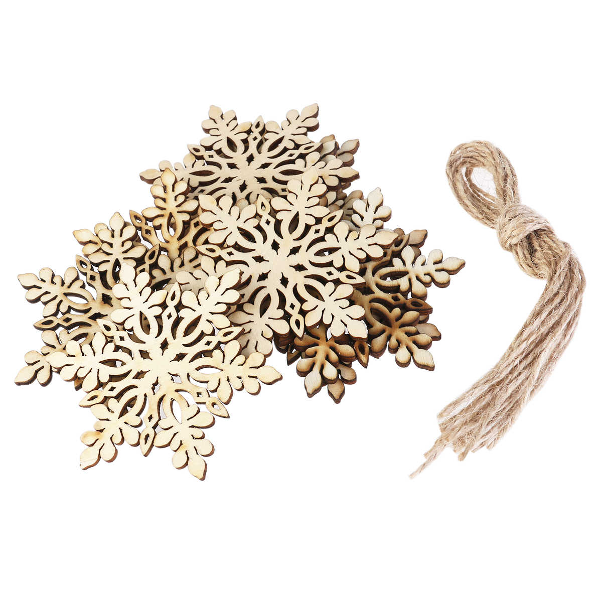 10 pcs Sharp Hexagonal ไม้ Snowflake แขวนเครื่องประดับตกแต่งจี้ String (สีไม้)