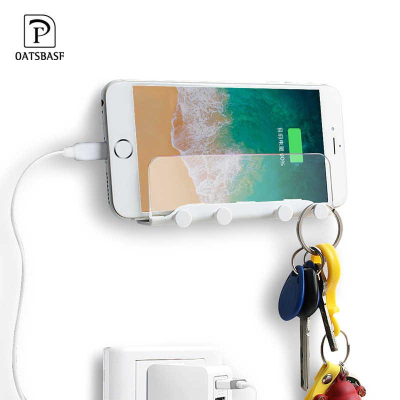 Suporte do telefone móvel para iphone7 8 x suporte de montagem na parede suporte adesivo portátil carregador de parede gancho titular pendurado