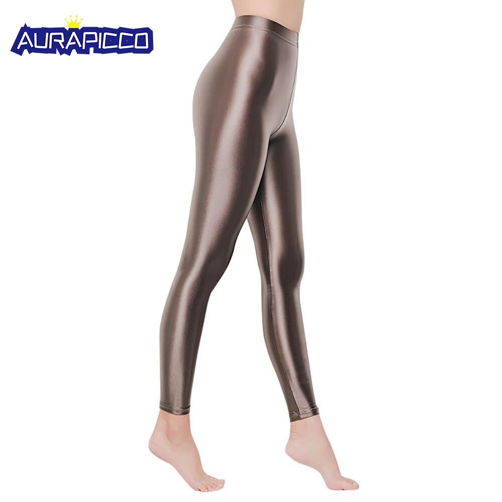 Women's Shiny Metallic Active Leggings High Waist Wet Look Stretch Pants Footless Tights Clubwear Yoga Sexy Wear Thin Leggings