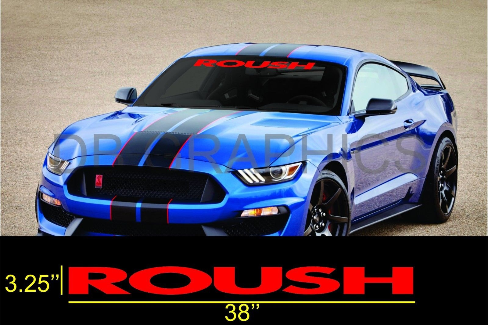 Emblem Sticker Graphic Color Orange 6 to 8 Year Outdoor Life 4 inch by 38 inch ROUSH Ford MUSTANG Windshield Banner Decal