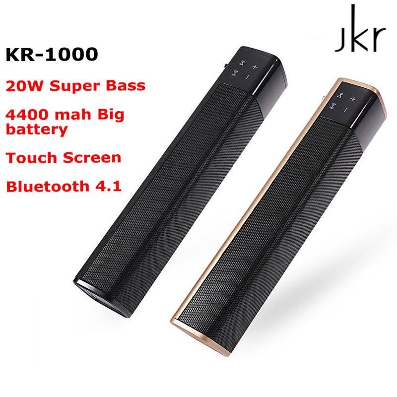 JKR KR-1000 Bluetooth haut-parleur 20 W Super basse stéréo haut-parleur 4400 mah batterie TF carte AUX barre de son pour TV téléphone intelligent PC