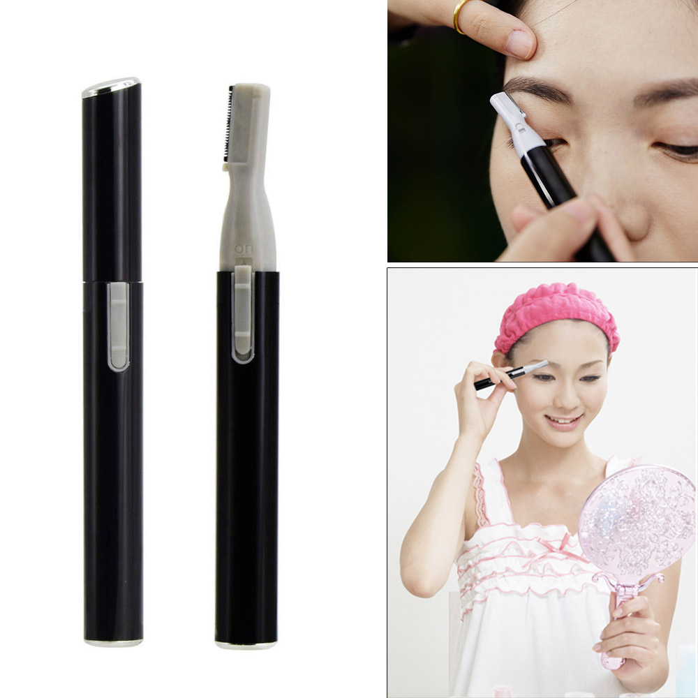Hitam Praktis Electric Wajah Alis Gunting Pemangkas Rambut Mini Portable Wanita  Tubuh Alat Cukur Remover Blade a5a76b1ad0