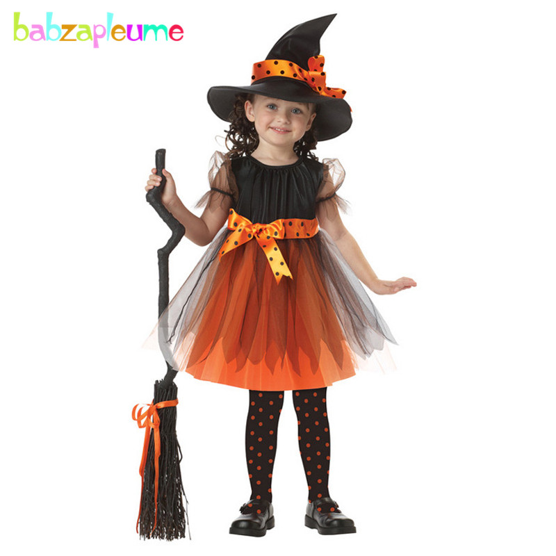 2Piece/3-6Years/Halloween Kids Clothes For Baby Lace Tutu Party Dress+Hats Toddler Girls Dresses Children Clothing Sets BC1315
