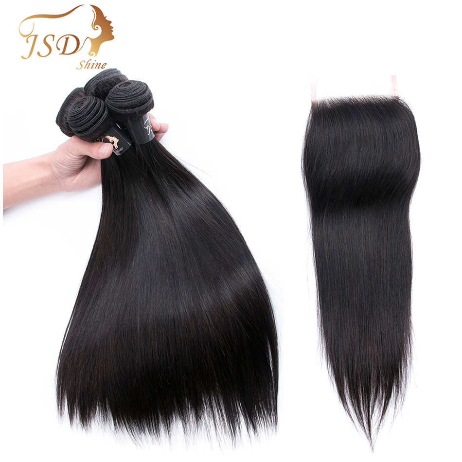 JSDShine Straight Human Hair Bundles With Closure Natural Color Indian Hair Weave Bundles With Lace Closure