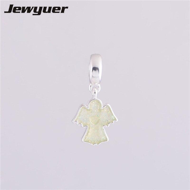 Fits European brand Bracelets DIY Making 925 Sterling Silver Sparking Angel Dangle Floating Charms Jewelry Wholesale DA0508