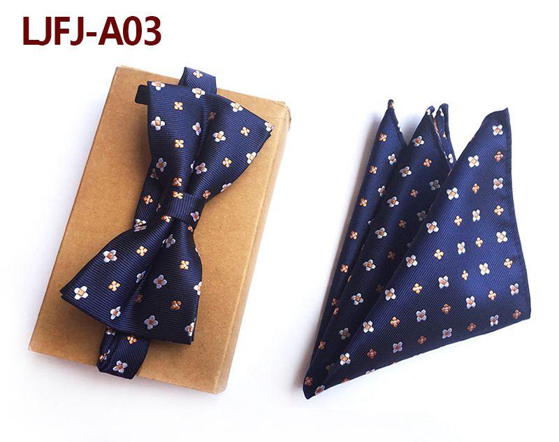 Мужской модный галстук набор полиэфирных шелковых галстуков наборы из двух частей жаккардовые галстуки для мужчин галстук носовой платок галстук-бабочка - Цвет: LJFJ-A03
