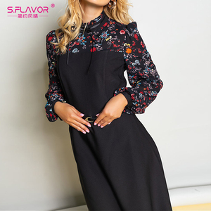 Image 5 - S. טעם נשים סתיו חורף בציר אונליין שמלת לא חגורה אלגנטית פרח הדפסת טלאים ארוך שרוול שמלת המפלגה Vestidos
