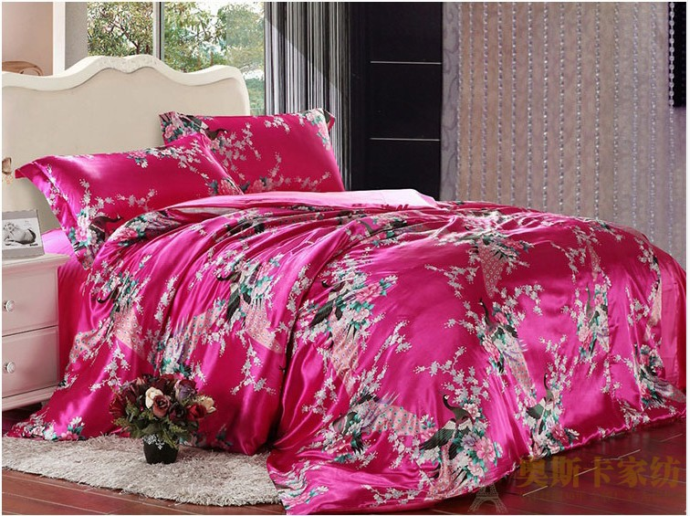 Peacock Feather Print Hot Pink Silk Bedding Set For King Queen Full Twin Size Duvet Cover