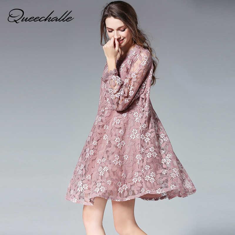 d8279b82529 Queechalle элегантные Лепестковые воротнички с длинным рукавом  трапециевидные кружевные платья для женщин XL XXL XXXL 4XL