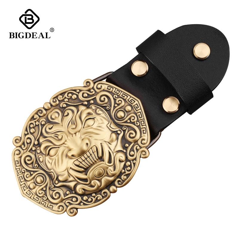 High Quality 3D Solid Copper Brass Cowboy Metal Belt Buckle Fashion Animal Buckles For 4cm Wide Belt Men Jeans Accessories