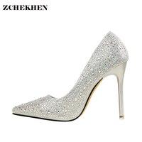 シルバーブリンブリンラインストーンファッションデザイン女性のハイヒールパンプス夏パーティーウェディング小剣の靴薄いかかと