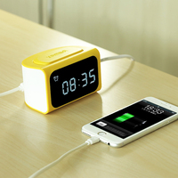 Remax LED Digital NO Clock Timer Alarm 4USB For Mobile Phone Power Adaptor Outlet Charger 100V