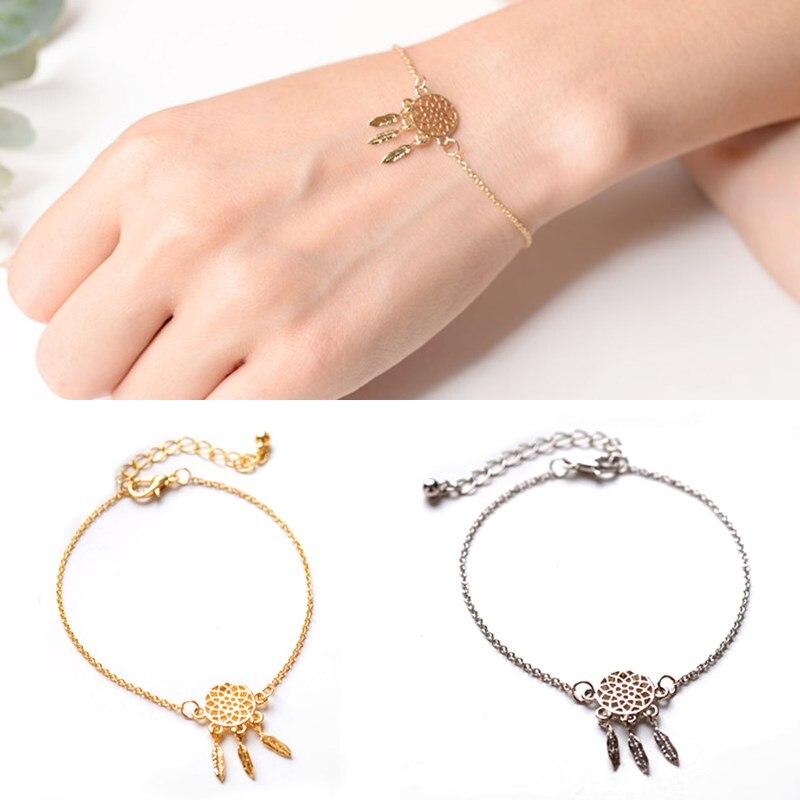 f6b455a553be Venta moda hueco de la aleación de señora de oro metal plateado pulsera de  cadena colgante Dream Catcher