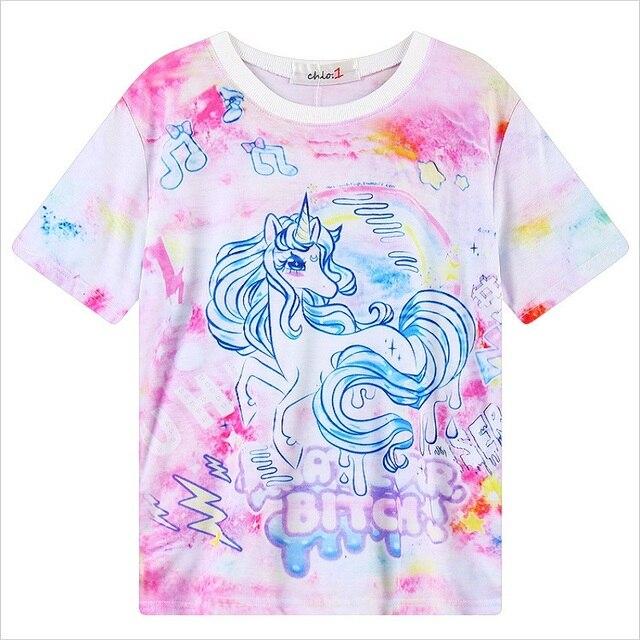 34abb02120 2016 kawaii style tie dye t shirt My Little Pony Unicorn rainbow dash Print  t-shirt short sleeve cartoon tees moletom women tops