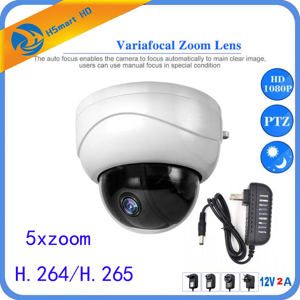 Outdoor PTZ Dome 5X Optical Zoom IP Camera 3516C+SONY323 H.264 / H.265 Network CCTV 1080P IR Night Security add 12V 2A DC