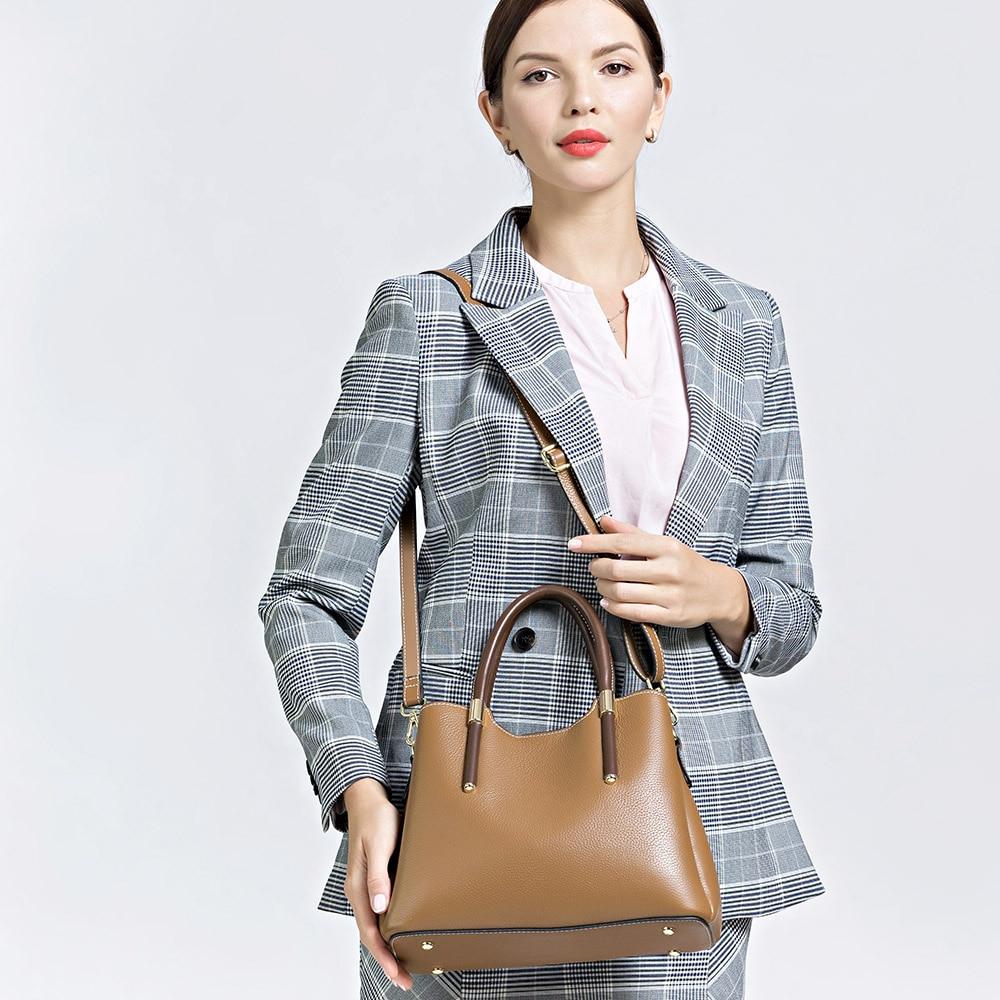 Zency 더 예쁜 색상 핸드백 100% 진짜 암소 가죽 캐주얼 토트 패션 레이디 crossbody 메신저 지갑 비즈니스 가방 브라운-에서탑 핸드백부터 수화물 & 가방 의  그룹 2