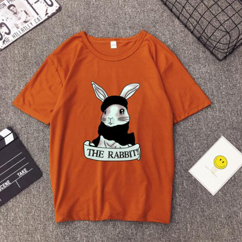 Cute Rabbit Print Women Tshirt High Quality Short Sleeve Round Neck Cotton Spandex Women Tops Casual Loose Women T-shirt