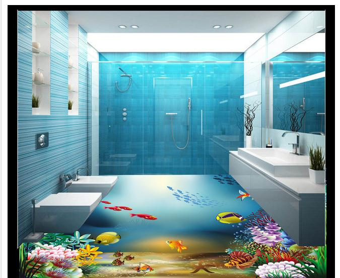 Custom Photo 3d Waterproof Floor Wallpaper 3 D Bathroom