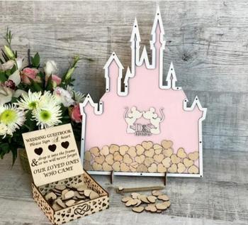 Personalizar ratón pareja castillos libro de invitados de boda alternativa Libro de Visitas Drop Top box libro de invitados de boda corazones drop box