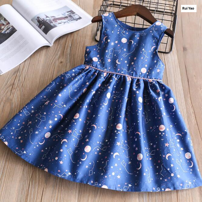 32048542 2018 New Summer Baby Girls Dress Print Stars Moon Girl Dress Lolita Girl Princess Dress Baby Dress Girls Clothes