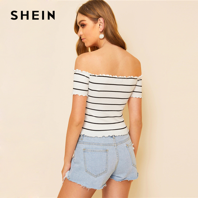 SHEIN Off Shoulder Striped Fitted Crop Top White Cap Sleeve Summer T Shirt Fabulous Style Women Summer Slim Fit 2019 Tees 1