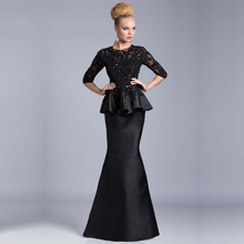 Vestido De Festa Longo 2014 Lace Beads Mermaid Evening Dresses Long Sleeve Gown Robe Soiree Black Dress