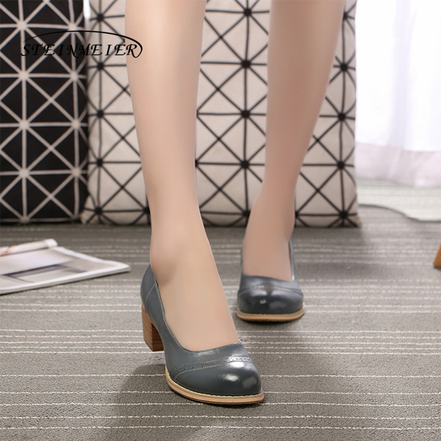 Genuine leather woman designer vintage Pumps shoes round toe handmade oxford shoes for women brown black