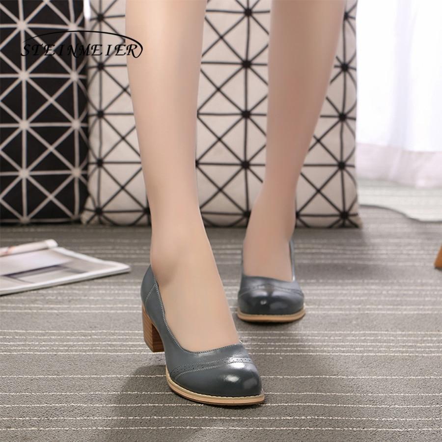 Prawdziwej skóry kobieta projektant vintage pompy buty okrągłe toe handmade oxford buty dla kobiet brązowy czarny czerwony beżowy 2018 w Buty damskie na słupku od Buty na  Grupa 1