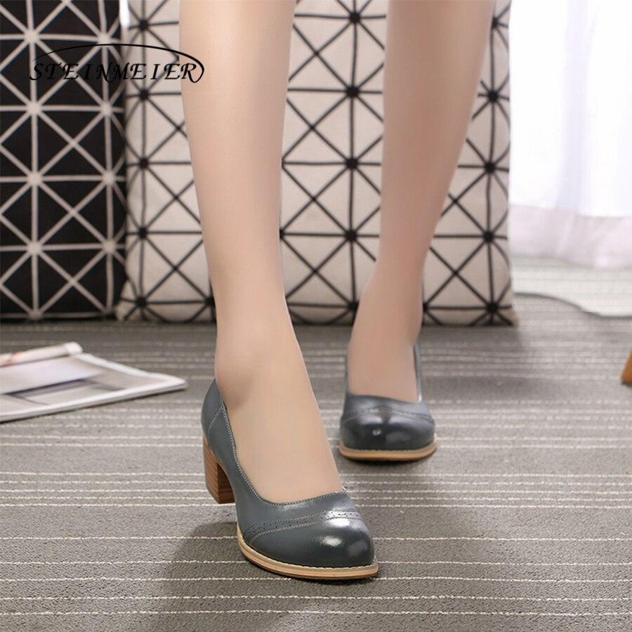Zapatos oxford hechos a mano de punta redonda de cuero genuino para mujer zapatos de diseñador vintage para mujer marrón negro rojo beige 2018-in Zapatos de tacón de mujer from zapatos    1