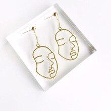 New Abstract Hollow Out Face Dangle Earrings Girls Statement Long Drop Earrings Jewelry Earrings boucles d