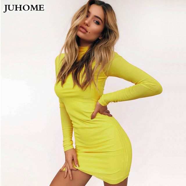 Hot Sale Sexy bodycon Dress women Clothes autumn winter Long Sleeve Night  Club Wear Party tunic Dress Black Red yellow Vestidos fe465ad432fc